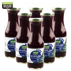 【蓝百蓓】原味野生蓝莓果浆 原味不添加糖 非浓缩还原 无任何添加 200ml*6瓶 盒装